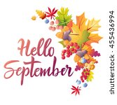 hello september colorful... | Shutterstock .eps vector #455436994