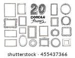 hand drawn doodle frames set.... | Shutterstock .eps vector #455437366