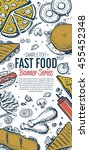 banner with fast food hand... | Shutterstock .eps vector #455452348