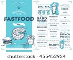 fast food menu design and fast... | Shutterstock .eps vector #455452924