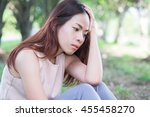 young woman feel sadness with... | Shutterstock . vector #455458270
