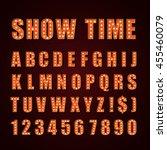 vector orange neon lamp letters ... | Shutterstock .eps vector #455460079