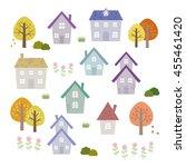 set of autumn houses   vector... | Shutterstock .eps vector #455461420