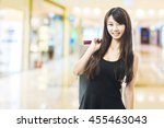 smiling happy asian woman... | Shutterstock . vector #455463043