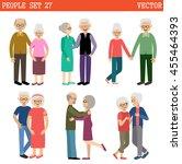 loving couples of elderly... | Shutterstock .eps vector #455464393