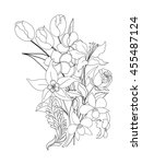 hand drawn tropical flower... | Shutterstock .eps vector #455487124
