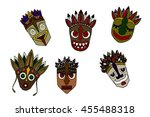 set of african ethnic tribal... | Shutterstock . vector #455488318