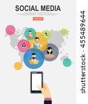 social media network. growth...   Shutterstock .eps vector #455489644