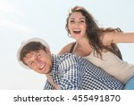 happy young man giving his... | Shutterstock . vector #455491870