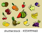 set of colorful cartoon fruit... | Shutterstock . vector #455499460