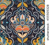 paisley floral seamless pattern.... | Shutterstock .eps vector #455505328