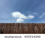 blue sky with clouds and wood... | Shutterstock . vector #455514340