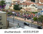 Small photo of SAO PAULO, BRASIL - MAY 22, 2016: Protesters march against Brazil's interim president Michel Temer at Largo da Batata, Pinheiros, Sao Paulo. Temer's conservative policies have divided Brazil.