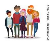 best friends. fashion stylish... | Shutterstock .eps vector #455527579
