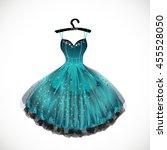 bright blue dress hand drawn... | Shutterstock .eps vector #455528050