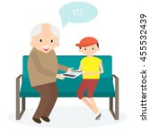 grandfather with tablet.... | Shutterstock . vector #455532439