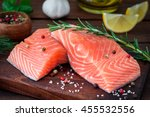 raw salmon fillet | Shutterstock . vector #455532556