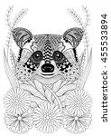 zentangle stylized raccoon head ... | Shutterstock .eps vector #455533894