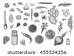herbs   spices collection ... | Shutterstock . vector #455534356