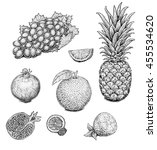 fruits and berries. black and... | Shutterstock . vector #455534620