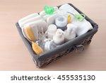 wicker basket full of baby...   Shutterstock . vector #455535130