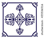 white blue tile vector. dutch... | Shutterstock .eps vector #455536516