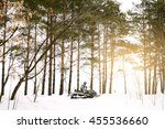 the sportsman on a snowmobile.... | Shutterstock . vector #455536660