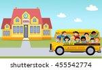 cartoon of happy school... | Shutterstock .eps vector #455542774