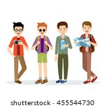 isolated men travelers on a... | Shutterstock .eps vector #455544730