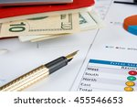 financial charts and graphs on... | Shutterstock . vector #455546653