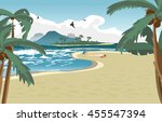 sea landscape summer beach ... | Shutterstock . vector #455547394