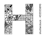 zentangle stylized alphabet.... | Shutterstock .eps vector #455555890