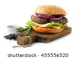 hamburger with beef meat and...   Shutterstock . vector #455556520