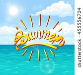 summer orange lettering on sea... | Shutterstock .eps vector #455556724
