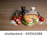 burger with sweet bun with...