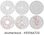 circular mazes. 3 version with... | Shutterstock .eps vector #455566723