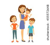 mother with kids. happy family. ... | Shutterstock .eps vector #455572648
