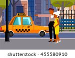 poster married catch a taxi in... | Shutterstock .eps vector #455580910