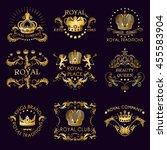 royal traditions golden logos...   Shutterstock .eps vector #455583904