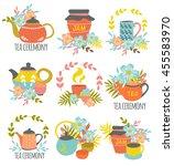 tea ceremony hand drawn emblems ... | Shutterstock .eps vector #455583970