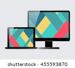 laptop and computer display.... | Shutterstock .eps vector #455593870