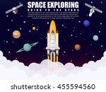 galaxy space ship rocket launch ... | Shutterstock .eps vector #455594560