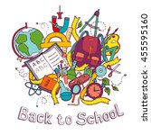 back to school   sketch colored ... | Shutterstock .eps vector #455595160