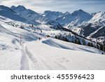 ski route in swiss alps  4... | Shutterstock . vector #455596423