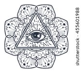 vintage all seeing eye in... | Shutterstock .eps vector #455601988