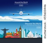 around the world. travel... | Shutterstock .eps vector #455603446