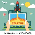 successful startup business... | Shutterstock .eps vector #455605438