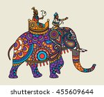 indian ornate maharajah on the... | Shutterstock .eps vector #455609644