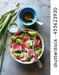 salad with lettuce spring onion ... | Shutterstock . vector #455623930