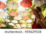 female tourist marvels at... | Shutterstock . vector #455629528